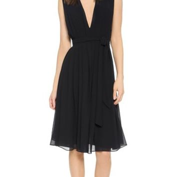 L'AGENCE Deep V Pleated Dress
