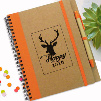 Deer Notebook, To Do List Notebook, Happy New Year Gift, 2016 Personal Journal, Cardboard Writing Pad, Spiral Notebook, Personalised Notepad