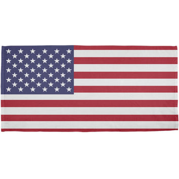 4th of July American Flag All Over Bath Towel