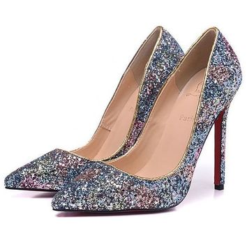 Christian Louboutin Fashion Edgy Sequin Pointed Heels Shoes