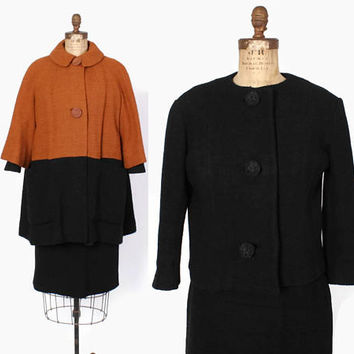 Vintage 60s LILLI ANN Set / 1960s Black Wool Blazer & Skirt Suit with Colorblock Swing Coat 3 Pc
