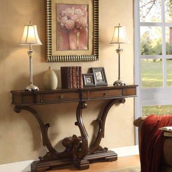 Brown finish wood hall console sofa table with carved base and 2 drawers