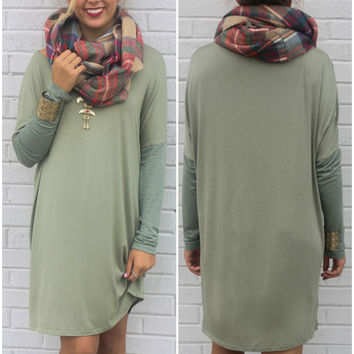 The Davenport Light Olive Scoop Neck Long Sleeve Knit Shirt Dress