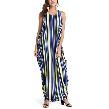 Women Summer Boho Dress Casual Off Shoulder O-Neck Sleeveless Striped Maxi Long Dresses Vintage Retro Party Dress Kaftan Robe