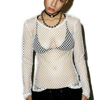 New Summer fashion Sexy Women see through look Long sleeve Mesh T-shirt -0710