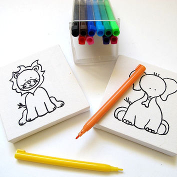 kids diy coloring mini painting canvas kit , kids diy party activity, dinosaurs coloring kit, jungle animals
