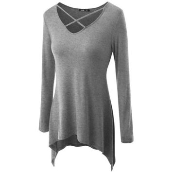 2017Spring Women Knitting Long Sleeve Casual Loose V-Neck Plus-size Women Clothing Fashion Sexy T-shirt Hot Tide Style Tops B032