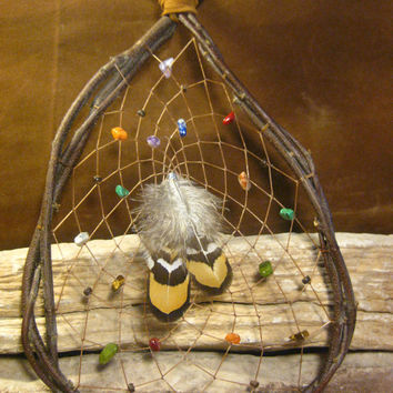 Natural Dream Catcher Native American Woven Birch Wood Teardrop with Gemstones from The Hidden Meadow