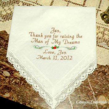 Wedding gift Personalized Mother in law Mom of the Groom Handkerchief By Canyon Embroidery