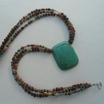 Large turquoise necklace on 3 strands of assorted Wood Bone and Antique beads Mothers Day Gift Idea! The Land of Bridget Boho Jewelry