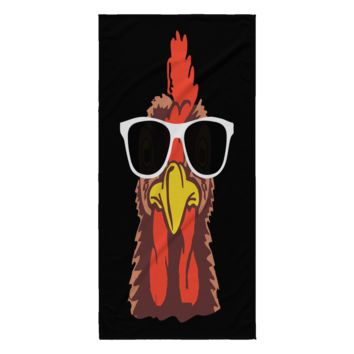 Funny Chicken Beach Towel