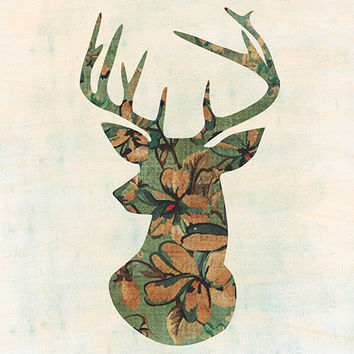 Deer Head Printable Instant Download Vintage Floral Silhouette