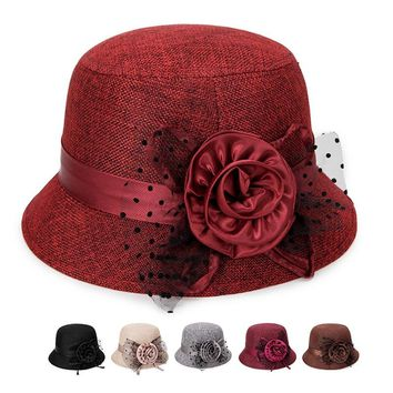 Lady Fedoras Autumn Winter Party Formal Top Cap Middle-aged Womens Decoration Flowers Church Vintage Hat Mother Dome Bucket Hat