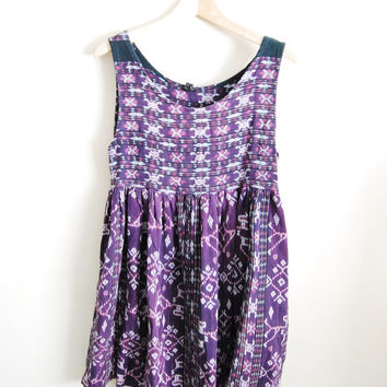 I Love Ikat - Vintage 90s Babydoll Ikat Print Weaved Sun Dress