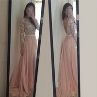 Sequin Prom Dresses,Long Sleeve Prom Dresses,Long Evening Dress