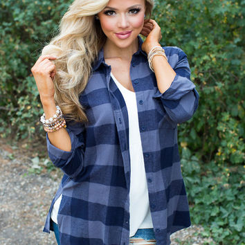 Looking Good On Angie Navy/Gray Plaid Top