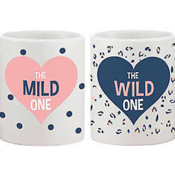 Polka Dot and Leopard Print BFF Mug- Mild and Wild One Best Friend Mug Cup