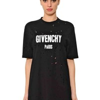 Distressed Black Oversize T-Shirt by Givenchy