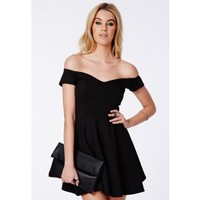 Missguided - Satyra Black Bardot Skater Dress