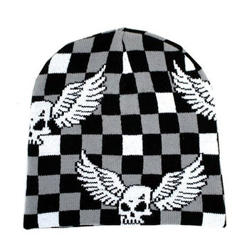 Checkered Beanie with Skull & Wings