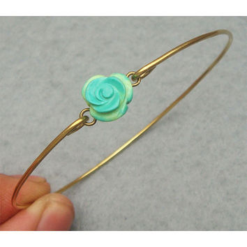 Turquoise Flower Bangle Bracelet by turquoisecity on Etsy