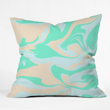 Wesley Bird Hypnotic Camo Seafoam Outdoor Throw Pillow