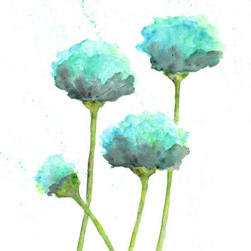 watercolor flower painting, watercolor poppies, flower art, abstract flower painting, poppy painting, mint green, modern - 8X10 print