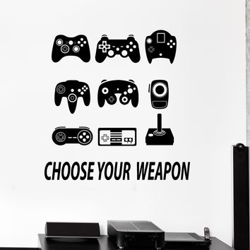 Vinyl Wall Decal Joysticks Gamepads Video Game Play Room Stickers Unique Gift (ig4287)