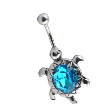 Charming Body Piercing Jewelry Turtle Egg shaped Oval Short Buckle Navel Belly Button Rings