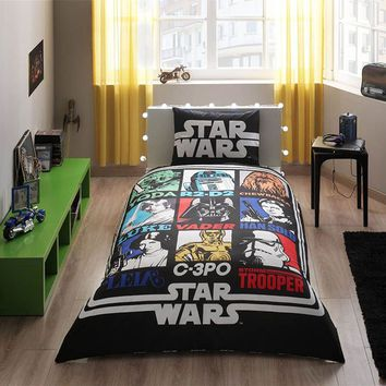 Star Wars Single Twin Size Duvet Quilt Cover Set Yoda Darth Vader Han Solo Storm Trooper Theme Bedding Linens