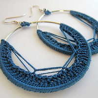 crochet earrings, silver earrings, dangle earrings, dark blue earrings, blue crochet hoops, hoops blue,round earrings,circle earrings,hippie