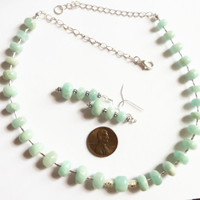 Amazonite green necklace, graduated faceted amazonite beads, sterling silver beads and chain, UK shop