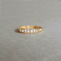 Art Deco 14K Gold DIAMOND Wedding Band Ring SI1 Diamonds c.1930's