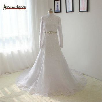 Beaded Belt High Neck Long Sleeves Wedding Dresses Muslim Wedding Dress Wedding Gowns Robe De Mariage