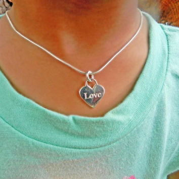 Little Girl Sterling Silver Engraved Heart Charm Necklace, Personalized Jewelry, Toddler Silver Necklace, Tiny Necklace, Child Name Necklace