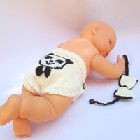 Newborn gifts,Diaper cover,Hand-knitted,Baby Shower Gift,Ivory,Dark Brown,Infant Photo Prop,Bow Tie,Baby Panda, Cotton,Premium Acrylic Yarn