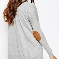 ASOS PETITE Swing Cardigan with Oval Tan Suedette Elbow Patch