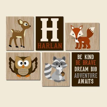 WOODLAND Wall Art, Woodland Nursery Decor, CANVAS or Print Wood Forest Animal Nursery, Woodland Quote Decor, Woodland Animal Decor Set of 6