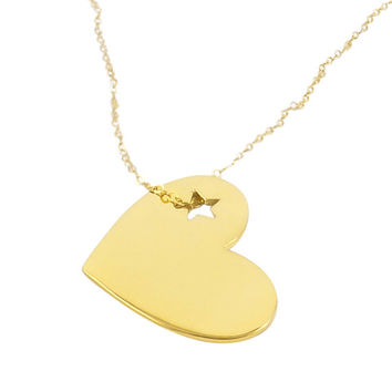 Heart Necklace - Gold heart necklace, Heart pendant, Love necklace, Everyday Simple Jewelry