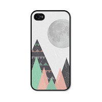 Tribal Geometric Moon and Mountains iPhone 4 Case - iPhone 4 Cover - iPhone 4 Skin - Mint Green Black Pink Coral Peach Triangle Cell Phone