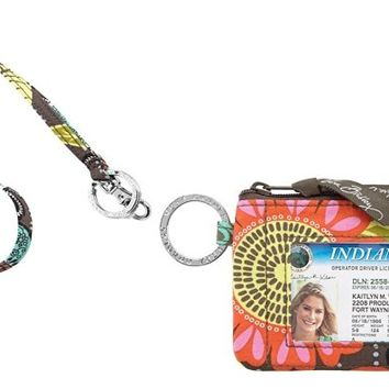Vera Bradley Zip Id Case and Lanyard in Flower Shower