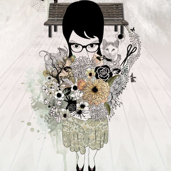 Fine Art original drawing of Flowers girl Gothic by lizkapiloto