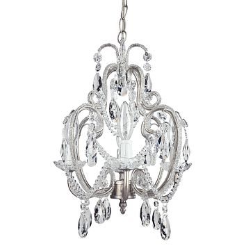 4 Light Beaded Crystal Plug-In Chandelier (Silver)