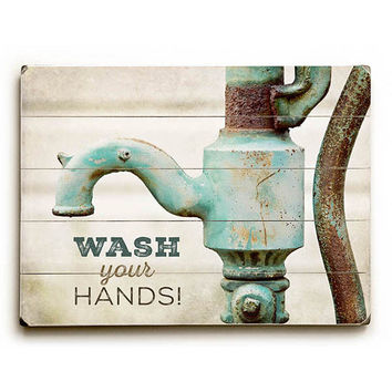 Wash Your Hands by Artist Lisa Russo Wood Sign