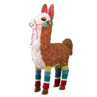 "32"" Tinsel Glitter Lit Llama with Socks - Wondershop™"