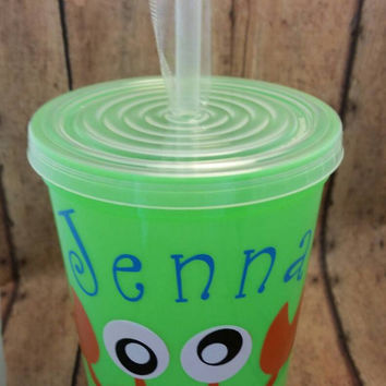 Stadium Cup, plastic tumbler, travel cup lid straw, Silly Crab  name or monogram neon pink, orange, green drinkware, keepsake, favor, gift