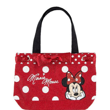 Disney Parks Minnie Mouse Dot Glitter Tote Bag New with Tag