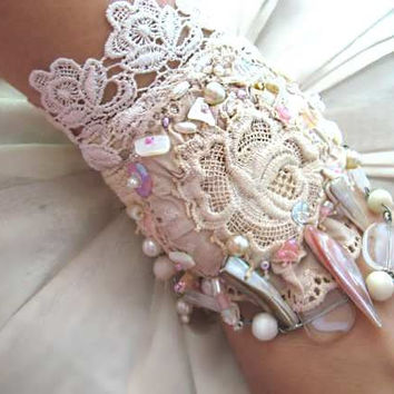 Delicate Rose Bracelet, Antique Lace, Beaded, Cream, Silk Linen, Shell, Cuff Style