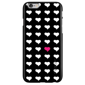 DistinctInk® Spigen ThinFit Case for Apple iPhone or Samsung Galaxy - Pink White Black Repeating Hearts