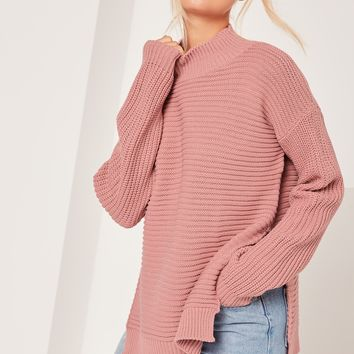Missguided - Pink Funnel Neck Ribbed Stitch Sweater